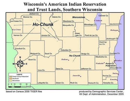 Wis American Indian Reservation and Trust Lands, Southern Wisconsin